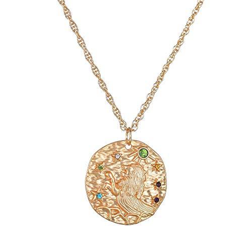 Collana Costellazione Vintage Cristallo Oro Moneta Segno Zodiacale Ariete Leo Virgo Collana Pendente Carta per Le Donne Gioielli Geometrici Moda Leo