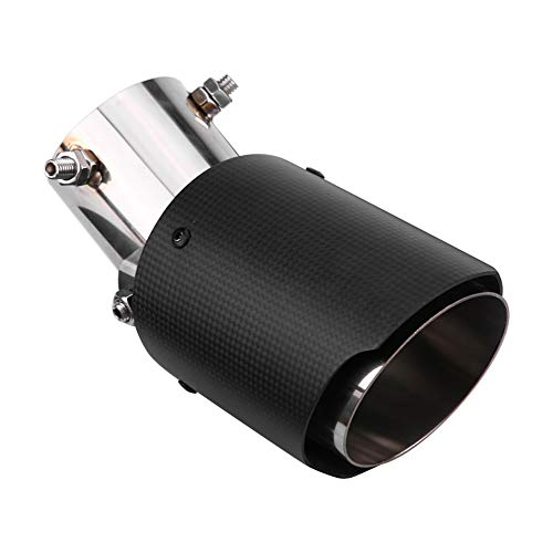 """Qiilu Adjustable Exhaust Tip Carbon Fiber 2.5 Inch Inlet Matte Exhaust Tailpipe Tip Pipe Muffler Tips End 3.5"""" Outlet"""