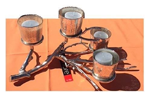 Colmore Alu Kerzenständer 4 Gläsern Kerzenhalter Teelichthalter Silber AST