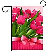 ガーデンフラグウェルカムバナーフラグヤードガーデン屋外装飾オールシーズンの垂直両面アートフラグ春の花の赤いチューリップの弓