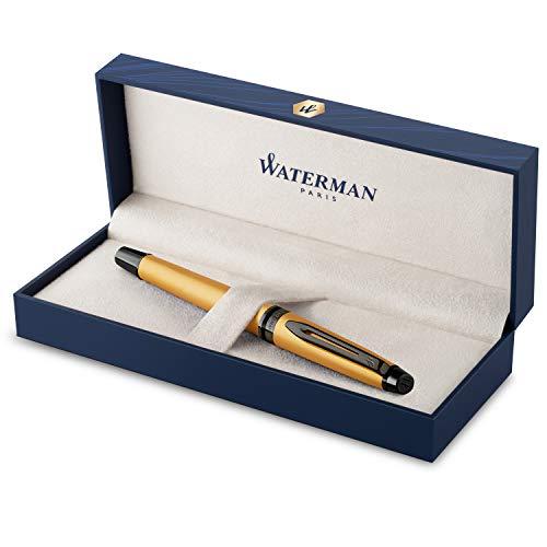 Pluma estilográfica Waterman Expert | Lacado en dorado metalizado con detalles en rutenio | Plumín fino de acero inoxidable revestido de PVD | Tinta azul | Con caja de regalo