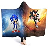 Fall Hooded Blankets for Mens Womens, Sonic and Shadow The Hedgehog Game Poster Wearable Blankets for Graduation, Office, Nap Time, All Seasons Soft Moving Throw Blanket