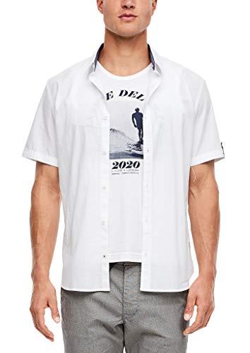s.Oliver Herren Slim: Hemd mit Turn Up-Ärmeln white 3XL