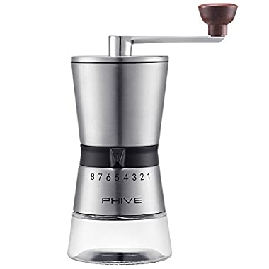 Manual Coffee Grinder, PHIVE Ceramic Conical Burr Mill, Adjustable 15 Coarseness Settings for Precision Brewing, Brushed Stainless Steel, Hand Crank Coffee Mill, Quiet and Portable