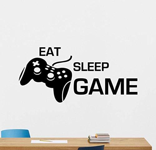 Eat Sleep Game Adesivo Gaming Joystick Gamepad Home Decor Videogioco Wall Sticker Videogioco Wall Art Teen Boy Room 120 X 56 Cm