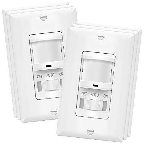On//Off Override Single Pole 4A Neutral Wire Required 500W 6-Pack//TOPGREENER Battery-Powered Wireless Motion Sensor Light 3-Pack TOPGREENER in-Wall PIR Motion Sensor Light Switch