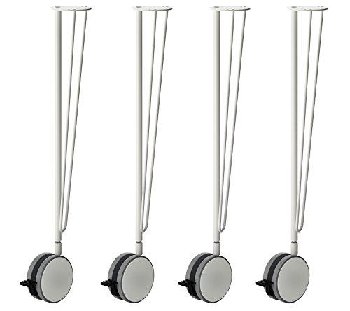 IKEA Krille Patas de mesa de acero con ruedas giratorias con cerradura – 27.5 pulgadas – Conico – Herramientas incluidas – Juego de 4 – Solo patas