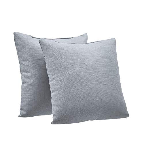 "AmazonBasics 2-Pack Linen Style Decorative Throw Pillows - 18"" Square, Grey"