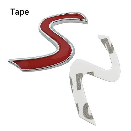 LSYBB 3D Metall S Frontgrill Chrom Emblem Aufkleber Grill Abzeichen Aufkleber Außen für Mini Cooper R50 R52 R53 R56 R57 R58 R60