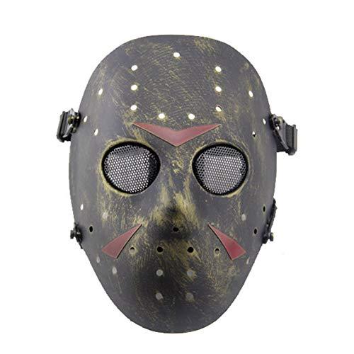 FOJMAI CS Games máscara táctica para Airsoft, Paintball, máscara de Malla de Metal Jason para máscaras, Disfraces de Halloween, Cosplay (Bronce)