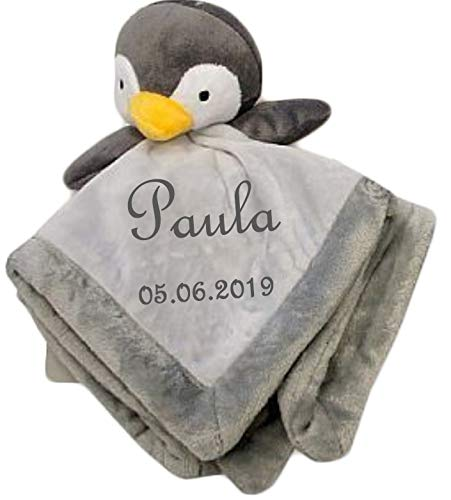 Wuff-Dogsworld Baby Kuscheltuch Pinguin mit Namen Bestickt Comforter Geschenk Taufe Geburt