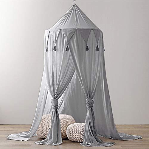 MMLsure® Moskitonetz Doppelbett,Mückennetz Bett, Baldachin Bett, Rundes Camping Netz, Betthimmel Vorhang mit Quasten Sternen Dekor,Einfache Anbringung & Tragetasche (grau)