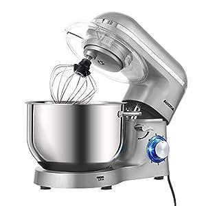 Aucma Robot de Cocina (1400 W, con Bol de Acero Inoxidable de 6,2 L, amasador, batidor,Varillas y protección para Salpicaduras, 6 velocidades, silencioso)