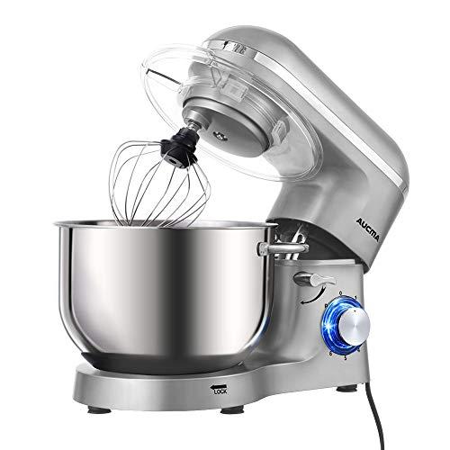 Aucma Küchenmaschine 1400W mit 6,2L Edelstahl-Rühlschüssel, Rührbesen, Knethaken, Schlagbesen und Spritzschutz, 6 Geschwindigkeit Geräuschlos Teigmaschine (Silber)