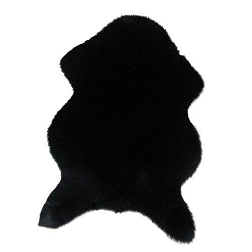MagiDeal Tapis Antidérapant Imitation Laine Fourrure Tapis Chaise Coussin Chambre Faux Tapis - Noir