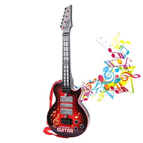 M SANMERSEN Electronic Toy Guitar 4 Strings Kids Play Guitar Music Guitar Toy with Colorful Lights Musical Instruments Educational Toy for Children Boys Girls