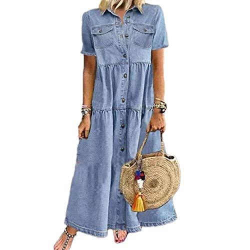 Godoboo Damen V-Ausschnitt Jeanskleider Denimkleid Sommerkleid Lose Einfarbig Kleid Hemdkleid aus Light Denim Blouse Skleid Partykleid