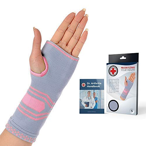 Doctor Developed Wrist & Hand Compression Sleeve/Support/Brace & Doctor Written Handbook - Palm Protector with Gel Pad, Optimum Comfort for Arthritis, Carpal Tunnel, RSI & More (Pink/Grey, Large)
