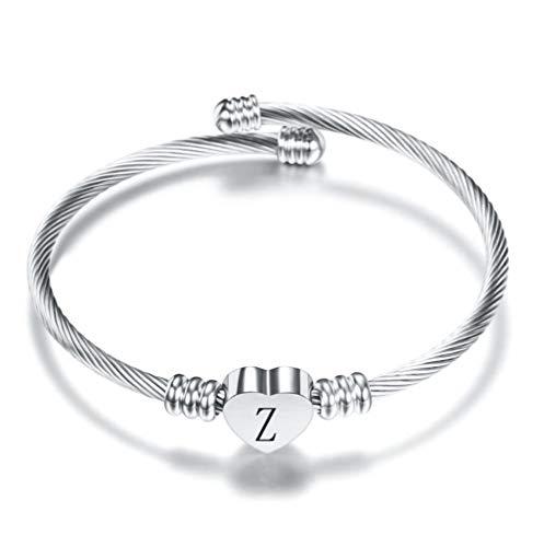 FGT Silver Initial Letter Cuff Bracelet Girls Bangle Heart Z Bracelets for Wife Mum Women Birthday Gift