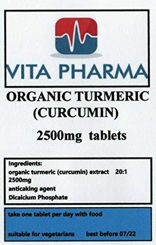 Organic Turmeric high Strength 2500mg 120 Tablets, Vegetarian, by vita pharma, Produced in The UK