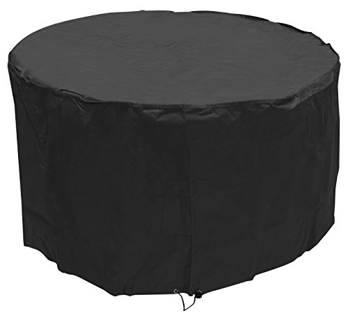 Woodside Black 4-6 Seater Round Waterproof Outdoor Garden Patio Table Cover Heavy Duty 600D Material 0.72m x 1.3m/2.4ft x 4.3ft 5 YEAR GUARANTEE