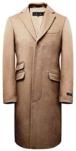 The Platinum Tailor Herren Kamel-Mantel Wolle & Kaschmir Covert Wintermantel Goldsatin Futter (54 (XL))