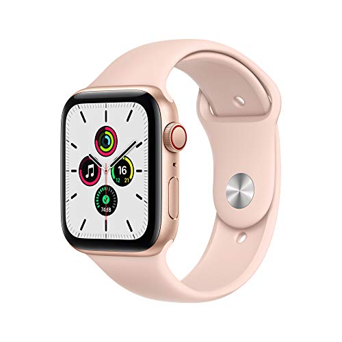 Newest Apple Watch SE (GPS + Cellular Model) - 44mm Gold Aluminum Case with Pink Sand Sport Band