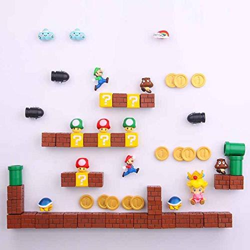 jgzwl Imán de refrigerador45 Piezas 3D Super Mario Bros.imanes De Nevera Pegatinas De Mensaje De Nevera Niñas Niños Niños Niños Estudiante Juguetes Regalo De Cumpleaños Entrega Aleatoria