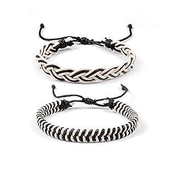 SUNSH 2PCS Hemp Cord Surf Handmade Brown Strings Bracelet for Women Girls Men Boys Woven Braided Friendship Vintage Tribal Hippie Cool Adjustable Mom Daughter Gifts