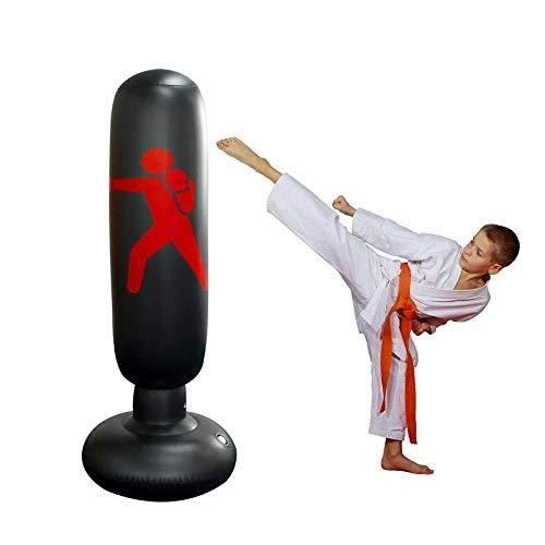 Gemgo Sac de Boxe Gonflable MMA Punching Coup de Formation Tumbler Sac pour Les Enfants Adultes 160cm Fitness de Boxe autoportant Tour Stand Fitness Target Sac