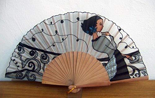 Abanico de seda natural pintado y montado a mano