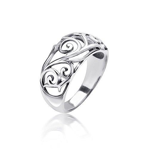 MATERIA Damen Ring floral 925 Sterling Silber antik breit massiv 4,7g deutsche Fertigung #SR-107, Ringgrößen:62 (19.7 mm Ø)