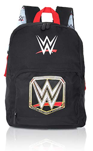WWE Wrestling Boys Backpack | Black Canvas Kids Rucksack, Children Backpacks, School Bags | Kids Backpack With Front Pocket and Padded Straps | Official Merchandise World Wrestling Entertainment