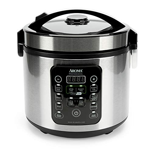 Aroma Housewares ARC-1120SBL SmartCarb Cool-Touch Stainless Steel Rice Multicooker Food Steamer, Slow Cooker with Non-stick Inner Pot and Steam Tray, 20-Cup(cooked)/ 5Qt, Black