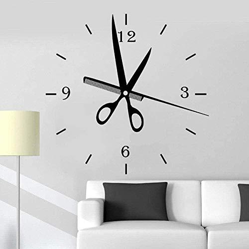 Reloj de vinilo de reloj de peluquero Relojes de moda Reloj de pared grande Etiqueta de la pared Barbería decoración de pelo Reloj de pelo Mural 57 * 58cm