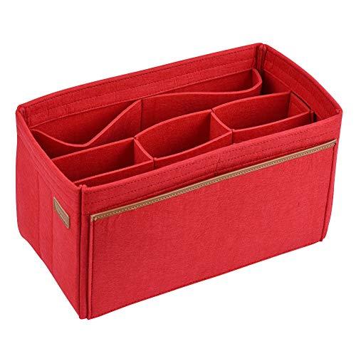 FIT IN Filz Organizer für Handtaschen CtopoGo Bag in Bag Handtaschen Organizer Frauen Handtasche, Kosmetik Organizer Passen Sie LV Speedy Neverfull Longchamp Tote (Rot, Large)