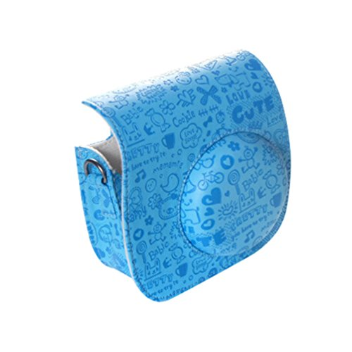 Yiiquanan Karikatur Drucken Mini 8 Kameraschutz Leicht zu Tragen Tasche Sofortbildkamera Schutzhülle (Blau, One Size)