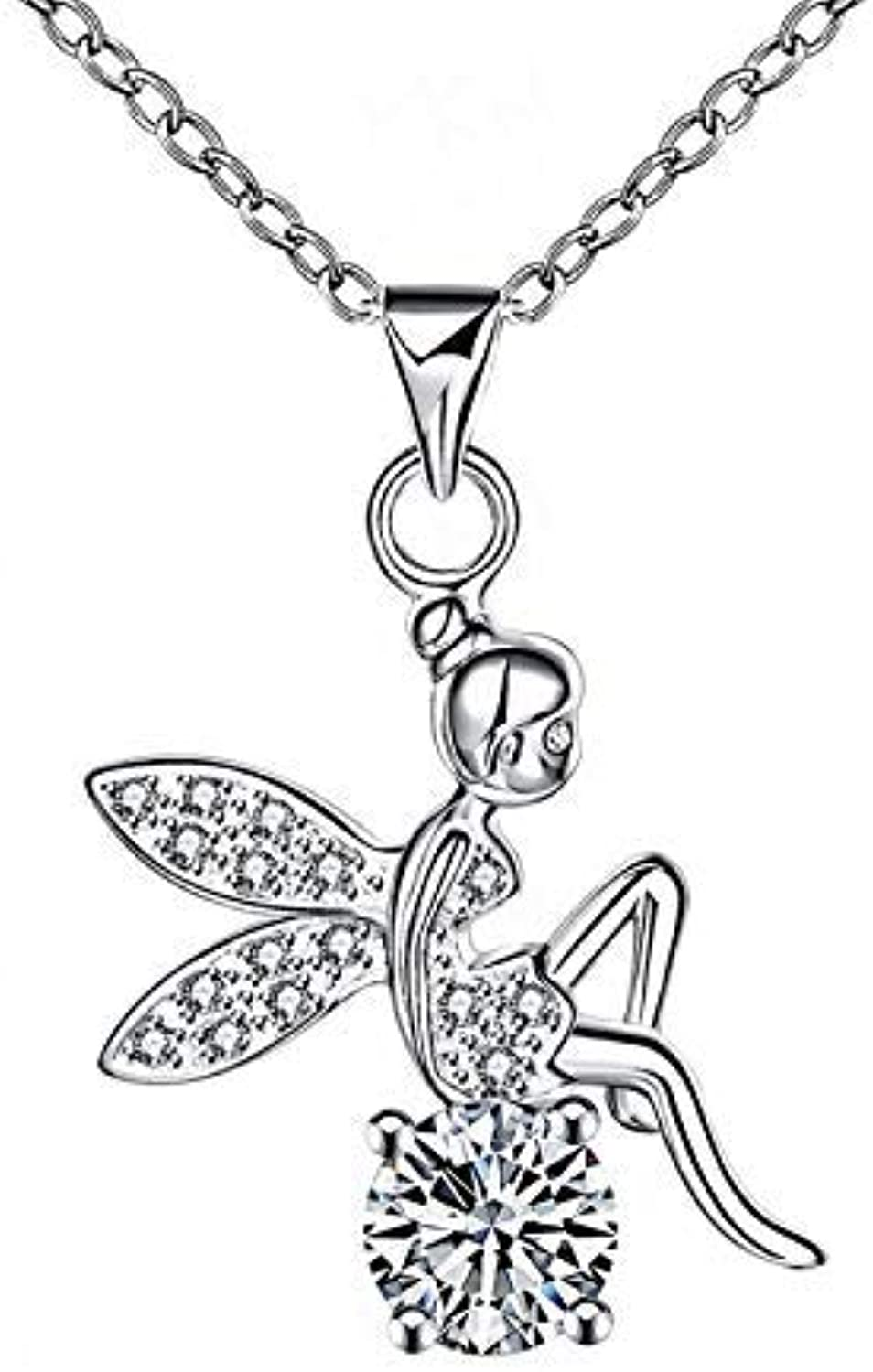 Rhinestone Necklace Jewelry Fashion Crystal Diamond Angel Pendant Necklace Women Silver Plated Jewelry (Size   A) by Enking