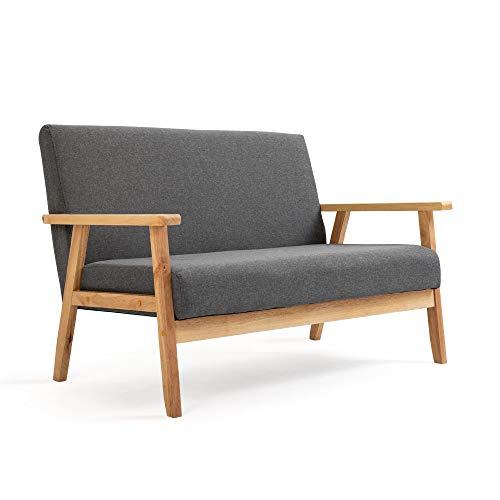 Mingone Sofa 2-Sitzer Sessel Couch Holz Stoff Leinen für Schlafzimmer Lounge Wohnzimmer Büro Garten Hof (Grau,113,5 x 67 x 73,5 cm)