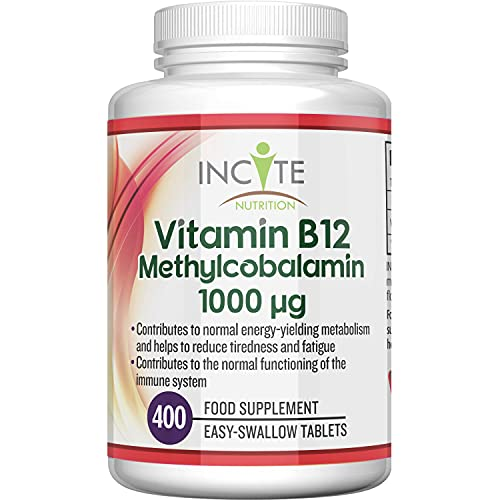 Vitamin B12 1000mcg | Methylcobalamin 400 Easy Swallow Vegan Tablets (12+ Month's Supply) | High Strength Quality Vitamin B12 | Suitable for Vegetarian | Made in The UK by Incite Nutrition®