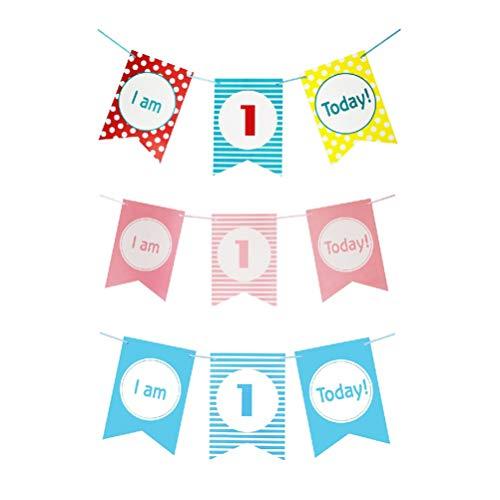 Amosfun Baby Eerste Verjaardag Party Banners 1e Verjaardag Stoel Party Banners Baby Douchestoel Decoratie 3 stks