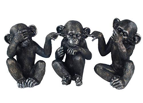 G&S Set 3 Singes de la Sagesse, Collection Jungle, H 14 cm