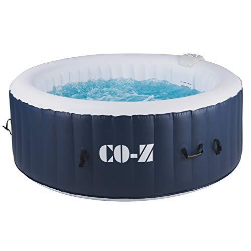 CO-Z Aufblasbarer Whirlpool für 4 Personen Spa Pool 1,8x1,8m Indoor Outdoor Pool 120 Massagedüsen Heizung 800 Liter mit Luftpumpe für Patio, Hinterhof, Garten (1,8x1,8 m)