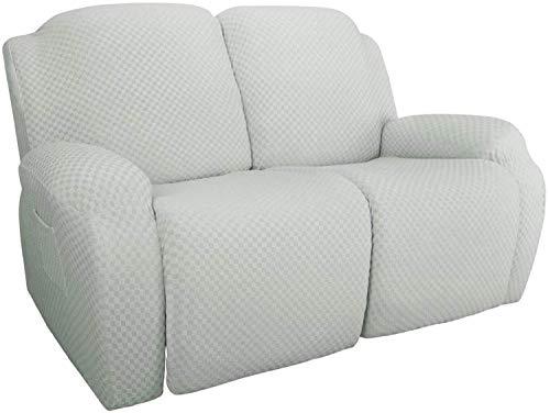 FDQNDXF Stuhlschonbezüge 4-teilige Stretch-Liege-Schonbezug Neueste Jacquard-Liege-Stuhlhülle mit Seitentasche Anti-Rutsch-Schonbezug Couch-Möbelschutz mit elastischem Boden