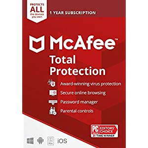 McAfee Total Protection 2022   Unlimited Devices   Antivirus Internet Security Software   VPN, Password Manager, Dark Web Monitoring & Parental Controls Included   1 Year Subscription   Key Card