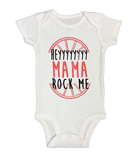 "Funny Onesie ""Hey Mama Rock Me II"" Newborn Baby Toddler Shirt - Funny Threadz 0-3 Months, White"