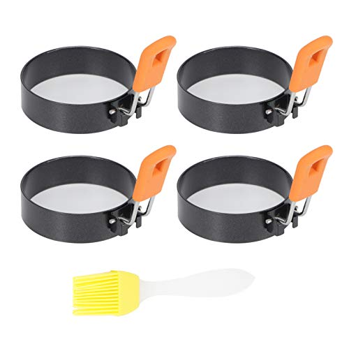 Omabeta Round Egg Ring Pancake Mold with Anti-Scalding Handle Stainless Steel Non-Stick Coating DIY for Frying Or Shaping Eggs - Round Egg Cooker Rings for Cooking