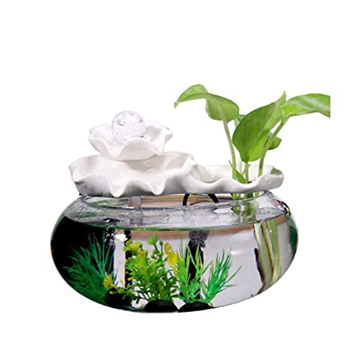 WBDZ Fuentes de Agua, Fuente de Escritorio Fuente de cerámica de Loto para Interior, pequeño, Ocio, Cascada, pecera, para decoración de la Oficina en casa (Color: Blanco, tamaño: Grande)