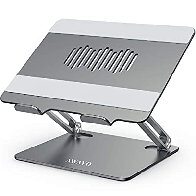 "AWAVO Laptop Stand, Ergonomic Aluminum Computer Stand for Desk, Adjustable Laptop Riser with Heat-Vent, Multi-Angle Holder Compatible with MacBook Air/Pro, Dell, HP, Lenovo, More 10-15.6"" Laptops"