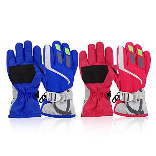 ORVINNER 2 Pairs Toddler Girls Boys Snow Gloves Kids Ski Winter Gloves Waterproof Children Warm Adjustable Gloves Blue/Pink Pack
